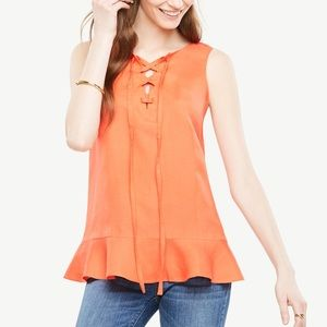 Ann Taylor Linen Sleeveless Lace-up Peplum Top